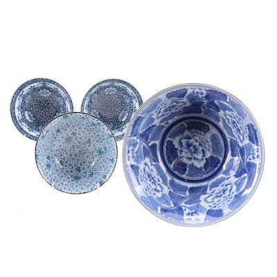 Asian Blue and White Porcelain and Ceramic Bowls