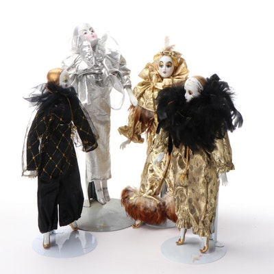 Silvestri and Other Bone China Pierrot Style Dolls, Late 20th Century