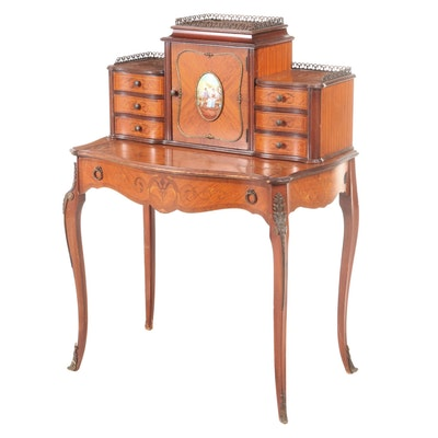 Louis XV Style Gilt Metal and Porcelain-Mounted Satinwood and Marquetry Bureau