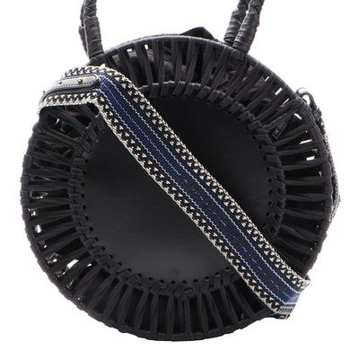 Stella McCartney Circular Two-Way Bag in Faux Leather and Woven Textile