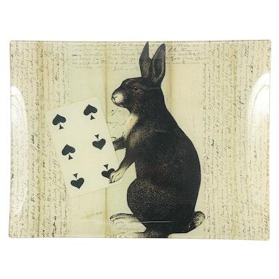 John Derian Company Decoupage Glass Plate of Rabbit, Late 20th Century