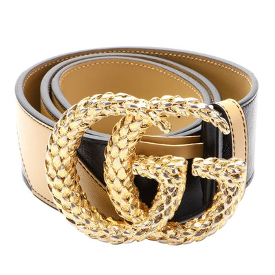 Gucci GG Large Marmont Belt in Diagonal Striped Leather