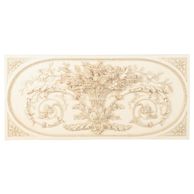 """Neoclassical Style Painted and Parcel-Gilt Composite Wall Plaque, Marked """"BD"""""""