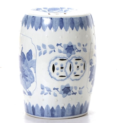 East Asian Style Blue and White Peacocks and Flowers Theme Ceramic Garden Stool