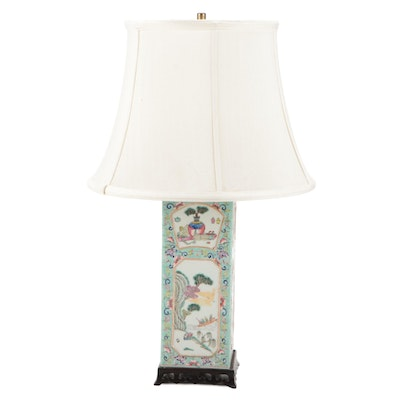 Chinese Hand-Painted Famille Verte Porcelain Lamp on Wood Base