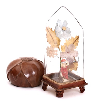 Victorian Valentine Whimsey Diorama and Carved Lotus Paperweight