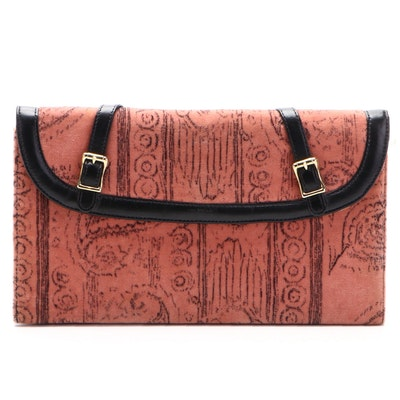 Large Flap Front Clutch in Patterned Velvet and Leather