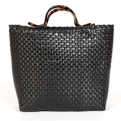 Robin Piccone Woven Tote with Faux Tortoise Handles