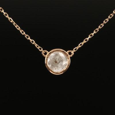18K Bezel Set 0.91 CT Diamond Solitaire Necklace
