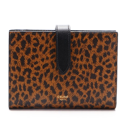 Celine Strap Wallet in Animal Print and Black Leather
