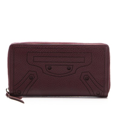 Balenciaga Blackout Zipper Wallet in Perforated Grained Leather
