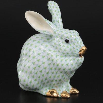 Herend Key Lime Fishnet with Gold Porcelain Rabbit Figurine