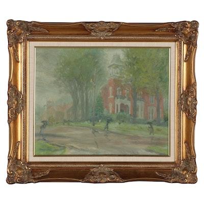 """Stanley Sascha Sessler Oil Painting """"Rainy Day in New Carlisle,"""" 1964"""