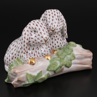 """Herend """"Bunny Love"""" Chocolate Fishnet with Gold Porcelain Figurine"""
