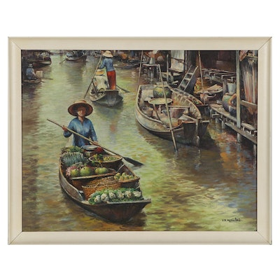 """V.N. Monti Oil Painting """"Floating Market,"""" Mid-20th Century"""