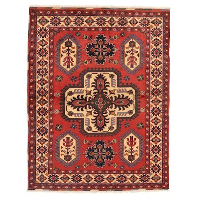 5' x 6'6 Hand-Knotted Afghan Turkmen Area Rug