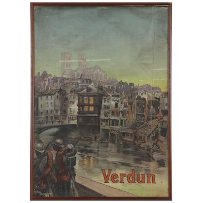 """Chromolithograph WWI Poster After Maurice Toussaint """"Verdun,"""" Early 20th Century"""