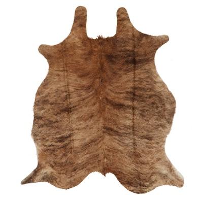 5'8 x 6'6 Natural Brindle Curly Cowhide Rug