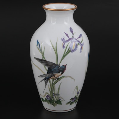 "Franklin Porcelain ""The Meadowland Bird"" Vase By Basil Ede, 1980"