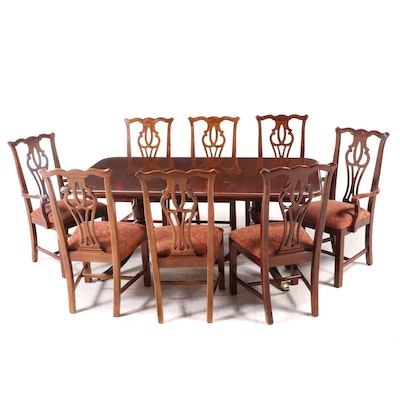 Thomasville Double Pedestal Table and Chippendale Style Dining Set