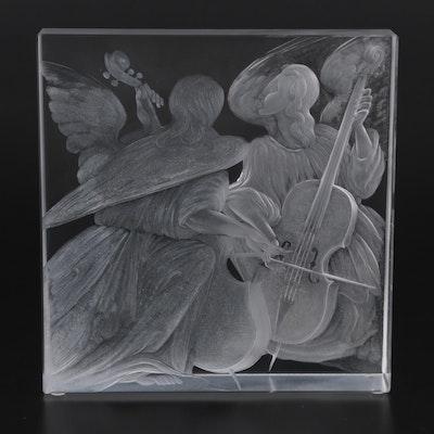 "Moser ""Music"" Cut and Engraved Crystal Block Designed by Jiří Harcuba, 2005"