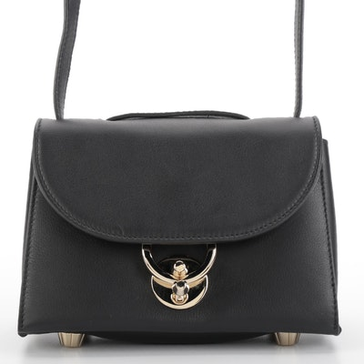 Salvatore Ferragamo Mini Stella Crossbody Bag in Black Grained Leather