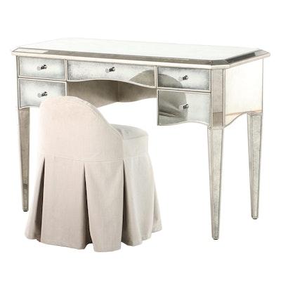 "Restoration Hardware ""Ava"" Mirrored Vanity Table and ""Maxine"" Stool"