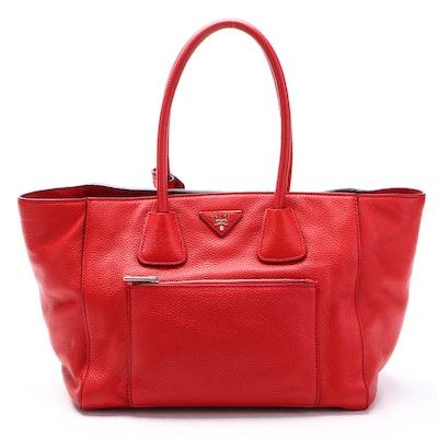 Prada Red Vitello Daino Leather Front Pocket Wing Convertible Tote