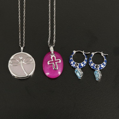 Sterling Dragonfly and Cross Pendant Necklace with Drop Earrings