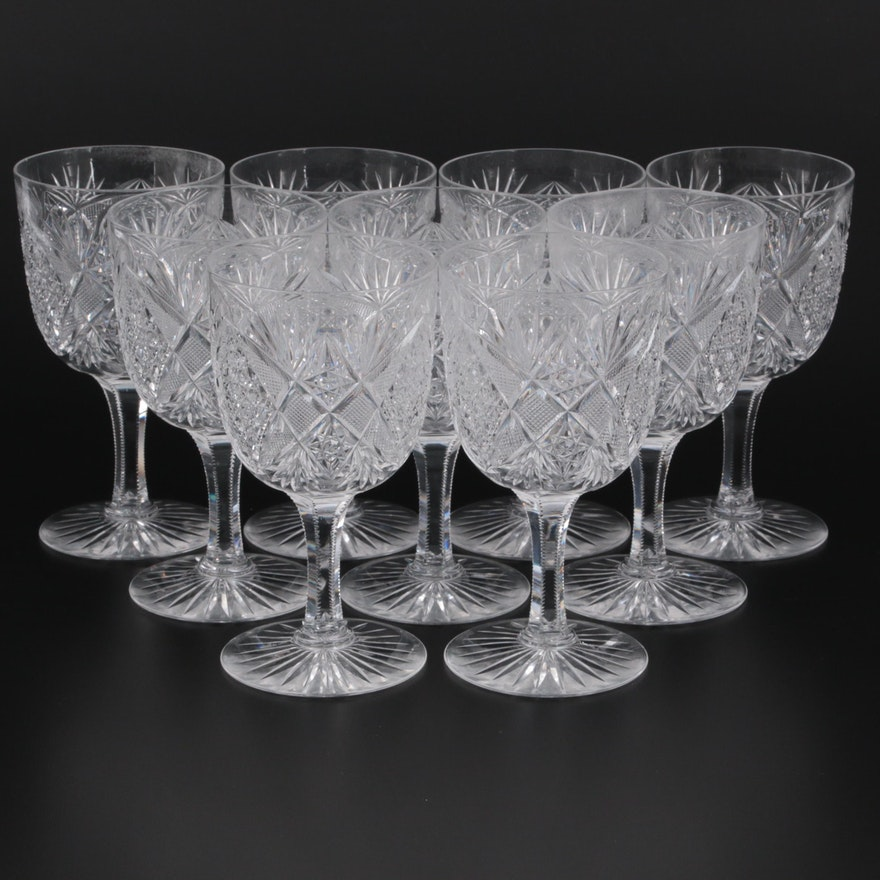 American Brilliant Style Crystal Goblets, 20th Century