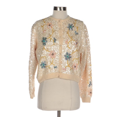 Calais Sequined Cashmere Cardigan Sweater with Scrolling Florals, 1950s