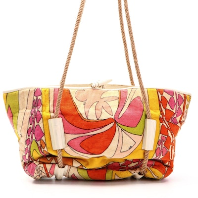 Emilio Pucci Printed Terry Cloth Fabric Tote Bag with Rope Strap Handles