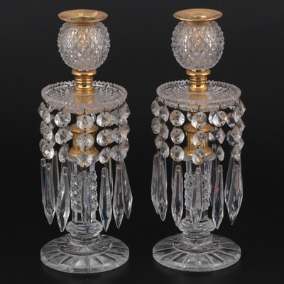 Pair of Regency Style Crystal and Brass Candlesticks