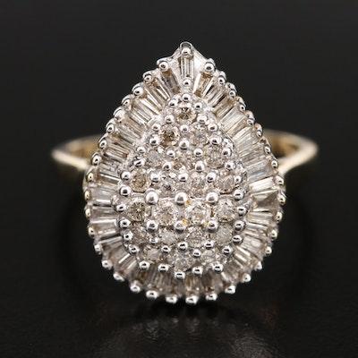 10K 1.00 CTW Diamond Teardrop Cluster Ring
