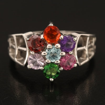 Sterling Flower Ring with Amethyst, Apatite and Garnet