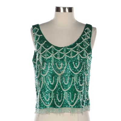 Sequined and Beaded Wool Knit Shell
