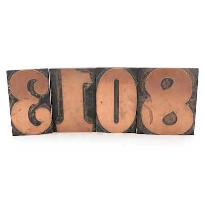 Mounted Copper Number Letter Press Printing Plates