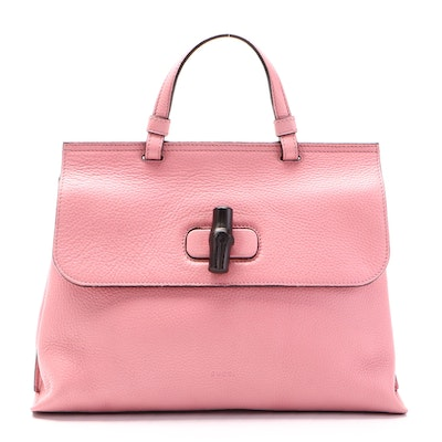 Gucci Bamboo Daily Pink Grained Leather Two-Way Handbag