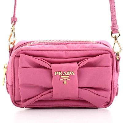 Prada Tessuto Bow Camera Crossbody Bag in Pink Nylon and Saffiano Leather