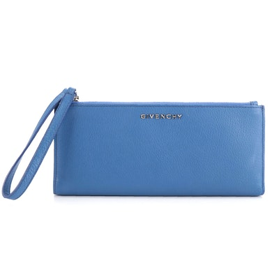 Givenchy Pandora Blue Grained Leather Zip Wallet Wristlet