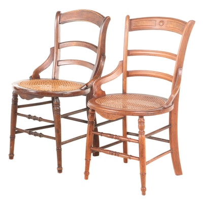 Two Victorian Ladderback Side Chairs, Late 19th Century