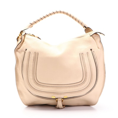 Chloé Marcie Beige Grained Leather Hobo Bag