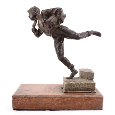 """Bronze Sculpture After Dominique Alonzo """"The Paper Boy,"""" Early 20th Century"""