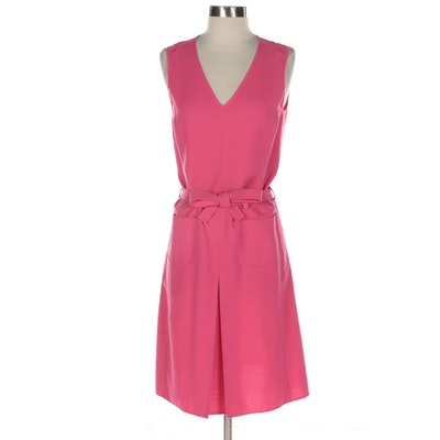 Oscar de la Renta Pink Sleeveless Dress with V-Neckline and Tie Belt