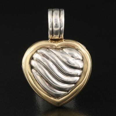 David Yurman Sterling Cable Heart Locket Enhancer Pendant with 18K Accent