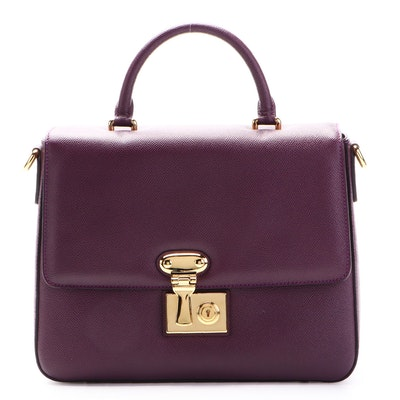 Dolce & Gabbana Miss Linda Top Handle Two-Way Bag in Aubergine Saffiano Leather