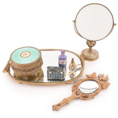 Apollo Brass Ormolu Guilloche Enamel Trinket Box and Other Vanity Items
