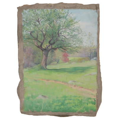 Landscape Oil Painting of Walking Path, Mid-20th Century