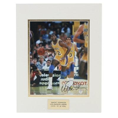 Magic Johnson Signed Los Angeles Lakers NBA Photo Print, COA