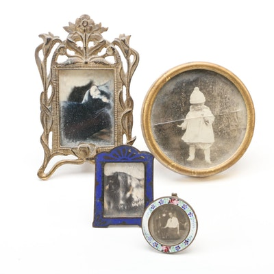 Metal and Enameled Miniature Table Top Picture Frames, Early 20th Century